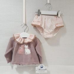 Jersey y braga camel y rosa...