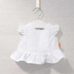 Blusa sin mangas blanca con...